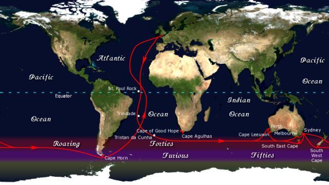 Bild: Klipper-Route zwischen England und Australien/Neuseeland