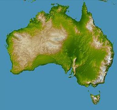 Bild: Topographische Karte Australiens