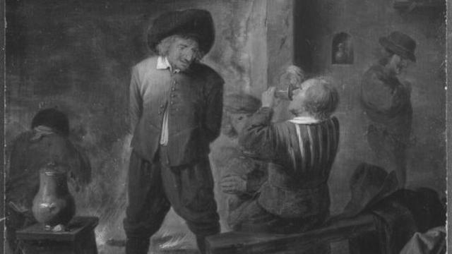 Bild: Adriaen Brouwer (1605/06-1638), (Nachahmer) - Bauern am Kaminfeuer