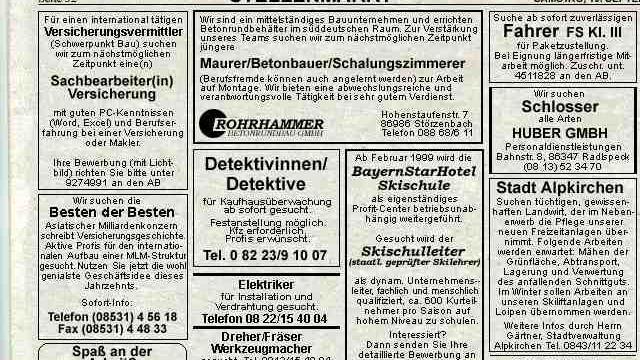 Bild: Stellenmarkt Alpkirchner Bote