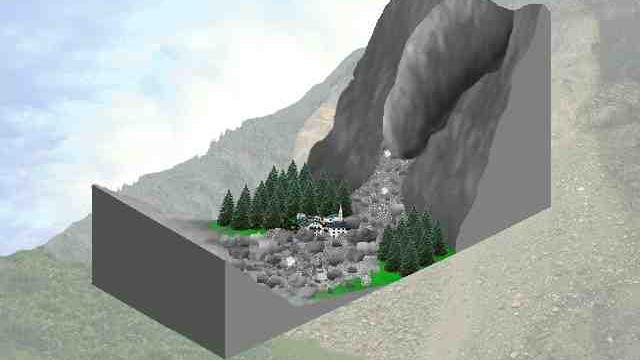 Bild: Ablauf eines Bergsturzes (2)